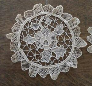 True Vintage Point Venise Needle Lace Doilies Set Of 2 Two Rounds