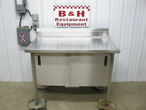 4 Stainless Steel Heavy Duty Kitchen Work Table Two 2 Door Cabinet 48 X 30