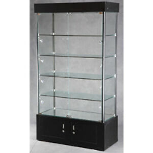 New Retail Lighted Tower Display Case With Adjustable Shelves Aluminum Framing