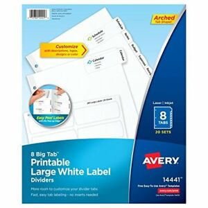 Avery Big Tab Printable Large White Label Dividers With Easy Peel 8 Tabs 20 Se
