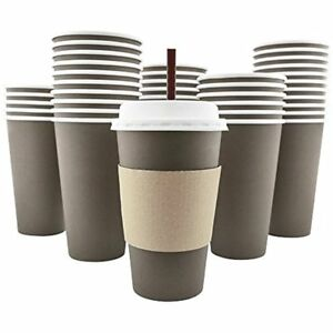 100 Pack 16 Oz 8 12 20 Disposable Hot Paper Coffee Cups Lids Store Gift New