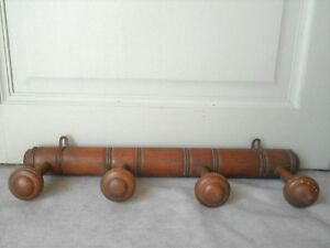 French Vintage Wooden Faux Bamboo Coat Hat Rack Hanger W 4 Pegs