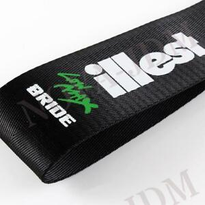 Jdm High Strength Bride Illest Tow Strap For Front Rear Bumper Towing Hook Black