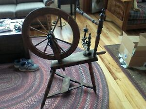 Antique Spinning Wheel Signed Dated 1838 For Repair Super Rare Museum Display
