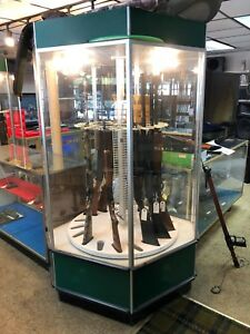 Gun Cabinet Rotating Spinning Lighted Glass Display Case Showcase