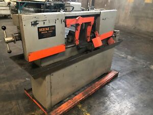 Hem Model 750a Horizontal High Speed Bandsaw Saw Capacity 12 Round
