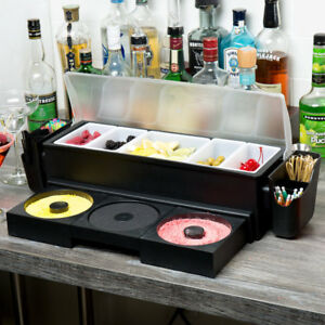 Tablecraft Bcd1400 Ultimate Condiment Station With 5 Glass Rimming Trays