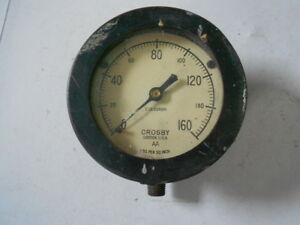 Vintage Crosby Aa Psi Gauge 0 160 Lbs Per Sq Inch Steampunk Steam