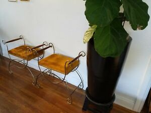 2 Vintage Hollywood Regency Gold Velvet Bench With Wood Handles Vanity Chair