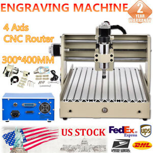 4 Axis Cnc 3040 Router Engraver Milling Drilling Machine Wood Caving Mach3 400w