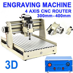 Diy Router Engraver 4 Axis Cnc 3040 Milling Drilling Machine 3d Cutter 400w Us