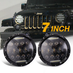 2x 7 Round Led Headlights Lamp W Drl For Jeep Wrangler Jk Jku Tj Lj Cj