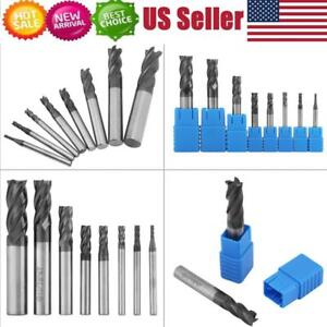 New 8pcs 2 12mm 4 Flutes Carbide End Mill Set Tungsten Steel Milling Cutter Tool