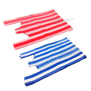 Stripe Vest Plastic Carrier Bags Red And Blue Shopping Supermarkets all Sizes