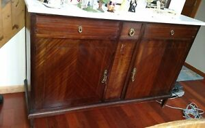 Antique 1800 Dining Room Buffet With Marble Top