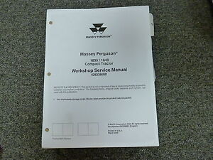 Massey Ferguson 1635 1643 Compact Tractor Shop Service Repair Manual 4283386m1