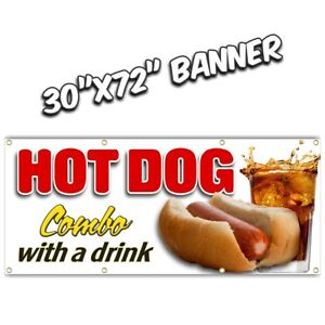 Hot Dog Combo Banner Sign French Fries Chili Onion Rings Burger Nachos Chili