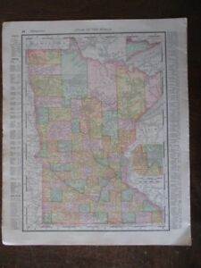 1895 Rand Mcnally Co Atlas Of The World Map Of Minnesota Wisconsin