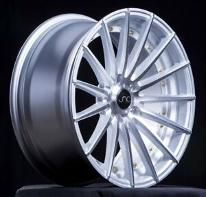 20 Jnc Wheels Jnc042 20x8 5 20x10 5x114 3 Silver With Gold Rivets Rims