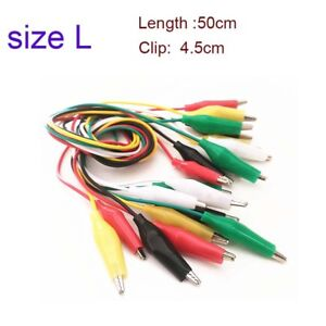 10pcs Dual ended Alligator Roach Clip Cable Jumper Wire Test Leads 50cm 5color