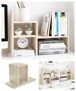 Wooden Desk Organizer Rack Shelf For Office Table Storage Large Adjustable White