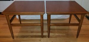 Petite Mid Century Modern Lane Solid Walnut Square Night Stand Side Table Pair