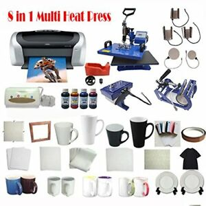 8in1 Sublimation Heat Press Printer Ciss T shirt Art Mug Plate Hat Transfer Kit