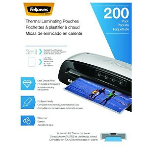 Fellowes Thermal Laminating Pouches sheets Letter Size 9 X 11 5 inches 3 Mil 200