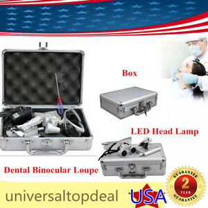 Dental Surgical Binocular Loupes Magnifier 3 5x 420mm Led Head Lamp Alu Box
