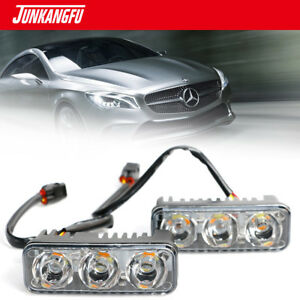2pcs 3led 12v White High Power Car Drl Daytime Running Light Fog Lamp Universal