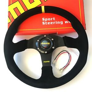 340mm Black Stitch Suede Steering Wheel Flat Momo Racing Omp Drift Nd Rally Yl