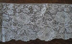 Wide Victorian Valenciennes Embroidered Lace Trim Figural Floral Doll Dressing 2