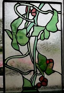 Vintage Stained Glass Floral Vines Designer Window Ec C 1980