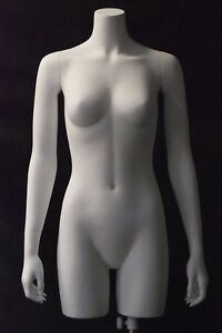 Female Torso Mannequin 3 4 Headless Body Matte White With Metal Stand