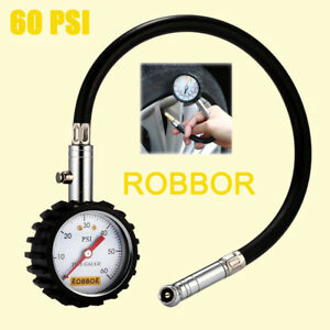 Universal Car Tire Pressure Gauge 0 60 Psi Flexible Hose Truckair Meter Tester
