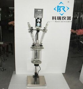 3l Lab Reactor Condenser With Ptfe Stir Paddle Jacketed Reactor Distillation