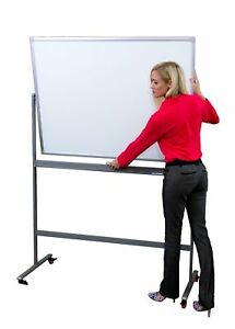 Double Sided Magnetic Mobile Dry Erase Board Rolling Whiteboard 48 X 36