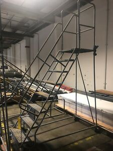 8 Step Rolling Ladder Industrial Warehouse Retail Steel Metal