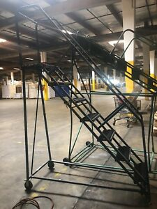 7 Step Rolling Ladder Industrial Warehouse Retail Steel Metal