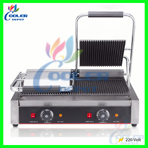 Dual Press Iron Grill Cuban Panini Italian Sandwiches Commercial Grade Non Stick