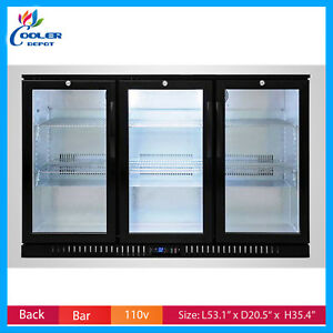 Beer Back Black Case Showcase Glass Door Commercial Refrigerator Cooler Drinks