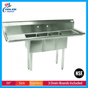 Nsf 50 Stainless Steel Stainless 3 Compartment Sink Hands Sinks New