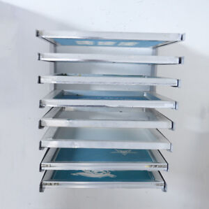 8 Layers Screen Printing Aluminium Frame Holder Wall Mounted Fixed Screen Rack