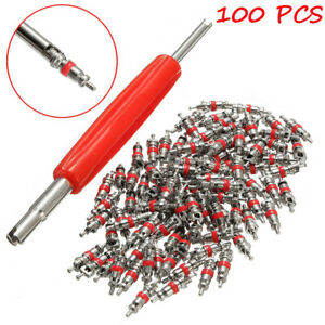 100pcs Ac Car Truck Tyre Tire Air Conditioning Valve Stem Core Part 1pc Remover