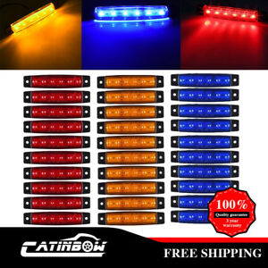 30pcs Amber red blue 6led Side Marker Light Truck Trailer Boat Clearance 3 8