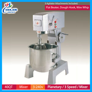 Commercial Food Mixer 40 Qt Dough 3 Speed Bakery Pizza Donuts Stainless Steel