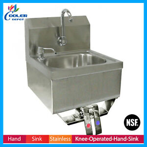 Stainless Steel Hand Sink Knee Operated Valve Lead Faucet Strainer Cooler Depot