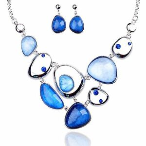 Tagoo Cute Sea Blue Jewelry Set For Women And Girls Antiallergic Pendant Resin