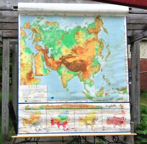 Vintage A J Nystrom Co Canvas Pull Down School Map Asia Sculptural Relief