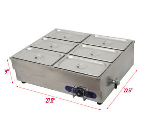 6 pot Counter Top Warmer Bain marie Buffet Steam Table Food Warmer 110v 1500w